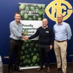 Woolworths Hawthorn East store manager Alex Quayle is congratulated by Andrew Chambers (President) and Rohan Hughes (Vice President – Club Operations)